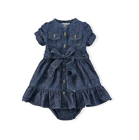 Ralph Lauren Baby Girls Cotton Chambray Woven Dress with Bloomer