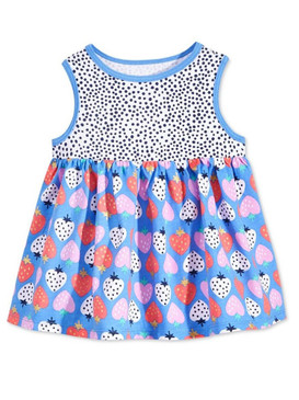 First Impressions Baby Girls Blue Multi-Color Strawberry Print Tunic Dress
