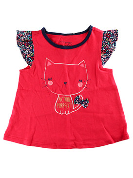 """First Impressions Baby Girls """"Picture Purrfect"""" Cat Flutter-Sleeve T-Shirt"""