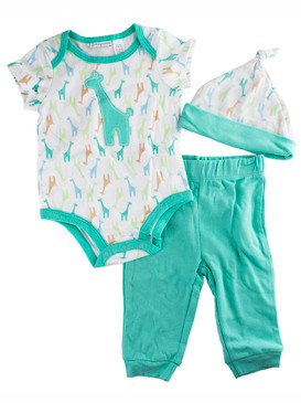 First Impressions Baby Boys 3Pcs Green Giraffe Bodysuit, Hat & Pants Set