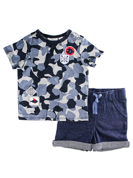 First Impressions Baby Boys 2-Pcs Blue Camo T-Shirt & Shorts Set