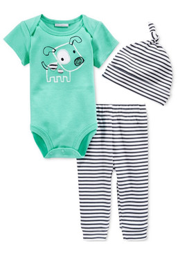 First Impressions Baby Boys 3-Pcs Dog Bodysuit, Hat & Stripe-Pants Set