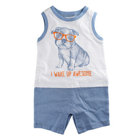 First Impressions Baby Boys ''I Wake Up Awesome'' Puppy Dog Romper