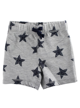 First Impressions Baby Boys Navy Stars-Print Gray Shorts