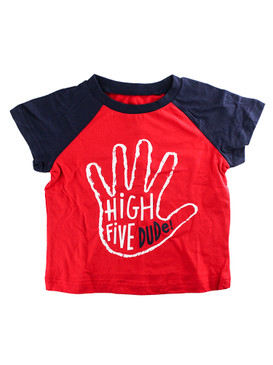 First Impressions Baby Boys ''High Five Dude'' Red & Blue T-Shirt