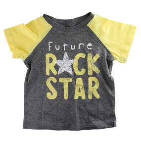 First Impressions Baby Boys ''Future Rock Star'' Gray/Yellow T-Shirt