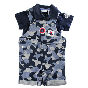 First Impressions Baby Boys  2-Pc. Polo & Fish-Camo-Print Shortall Set