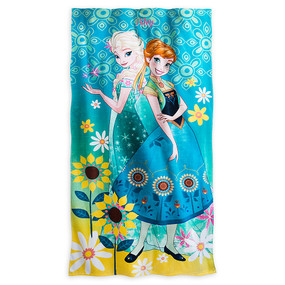 "Disney Store Girls Anna & Elsa - Frozen ""Warm Embrace"" Beach Towel, Blue, One Size"