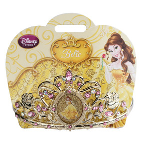 """Disney Store Girls Belle - The Beauty & The Beast - """"Rosey future"""" Tiara, Gold, One Size"""