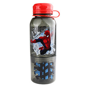 "Disney Store Boys Spider-Man ""Double-fisted"" Snack Bottle, Black/Red"