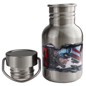 Disney Store Boys Captain America Civil War Stainless Steel Canteen Water Bottle 12oz