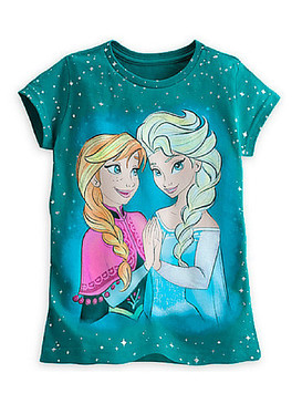 Disney Store Girls Anna & Elsa - Frozen - Star Short Sleeve T-Shirt, Teal
