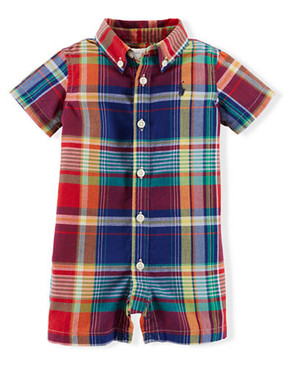 Ralph Lauren Baby Boys Cotton Madras Plaid Shortall Romper