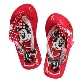 Disney Store Girls Minnie Mouse Platform Flip Flops, Red