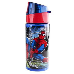 Disney Store Boys Spider-Man Wet Slinging BPA free Plastic Water Bottle, Blue/Red, 12oz