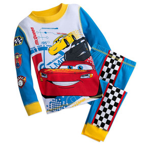 Disney Store Boys Lightning Mcqueen - Cars - Long Sleeve PJ PALS Pajama Set
