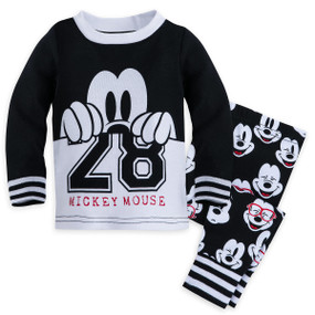 Disney Store Baby Boys Mickey Mouse Long Sleeve PJ PALS Pajama Set, Black/White
