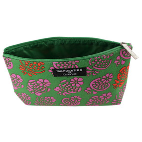 Clinique by Marimekko Green w/Pink & Red Flowers Cosmetic Makeup Travel Bag