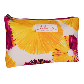 Clinique by Lulu dK Ivory with Yellow Flowers Cosmetic Makeup Travel Bag