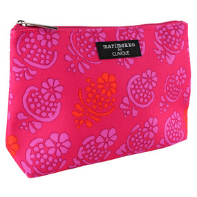 Clinique by Marimekko Pink w/Purple & Orange Flowers Cosmetic Makeup Travel Bag
