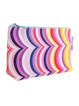 Clinique by Kapitza Multi-Color Curved Lines Cosmetic Makeup Travel Bag