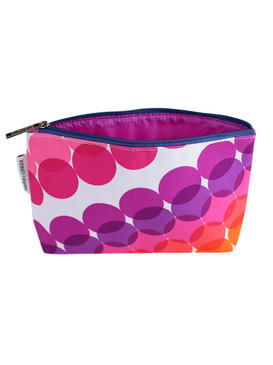 Clinique by Kapitza w/Purple, Pink, Red & Orange Circles Cosmetic Makeup Travel Bag