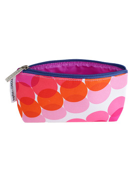 Clinique by Kapitza w/Purple, Pink, Red & Orange Circles Small Cosmetic Makeup Travel Bag