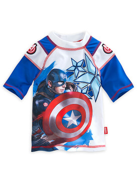 "Disney Store Boys Captain America Civil War ""Waves of Support"" Rash Guard, Blue"