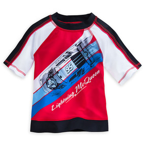 "Disney Store Boys Cars Lightning McQueen ""Wet's Up!"" Rash Guard, Red/Black/White"