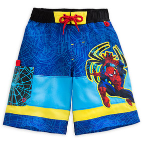 "Disney Store Boys Marvel Spider-Man ""Climb Wave"" Swim Trunks, Blue"