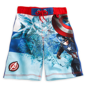 "Disney Store Boys Captain America Civil War ""Star man"" Swim Trunks, Blue"