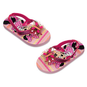 Disney Store Girls Minnie Mouse Clubhouse Twinkle Toes Flip Flops, Pink