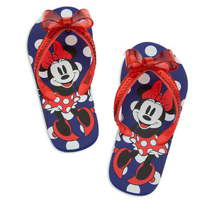 Disney Store Girls Minnie Mouse Happy feet Flip Flops Blue