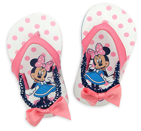 "Disney Store Minnie Mouse ""Sweet feet"" White & Pink Flip Flops for Baby"