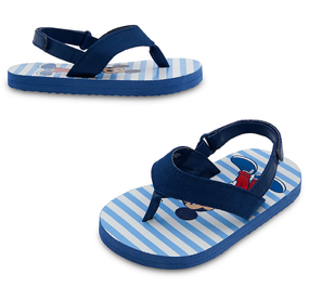 "Disney Store Mickey Mouse  ""Footloose"" Blue Stripes Flip Flops for Baby"