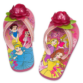 "Disney Store Girls Princess ""Petal Pushers"" Flip Flops Pink"
