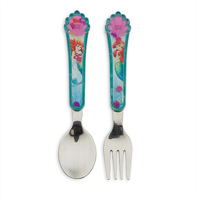 "Disney Store Ariel - The Little Mermaid ""Sea Food"" Flatware Fork & Spoon Set"