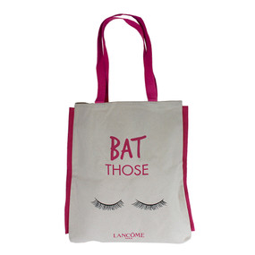 "Lancome Beige & Pink ""Bat Those"" Large Tote Travel Bag"