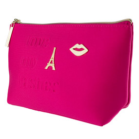 "Lancome ""Love My Lashes"" Hot Pink Cosmetic Makeup Travel Bag"