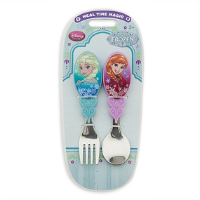 """Disney Store Anna and Elsa - Frozen """"Cold Dish"""" Flatware Fork and Spoon Set"""