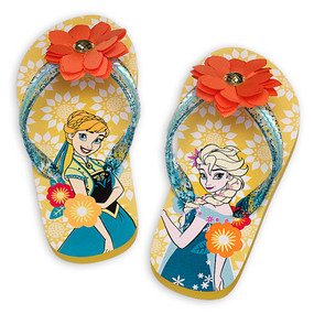 Disney Store Girls Anna & Elsa - Frozen - Flip Flops, Yellow