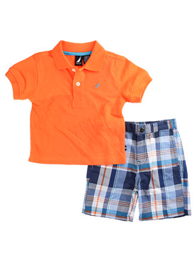 Nautica Baby Boys 2 Piece Pique Orange Polo with Plaid Short Set