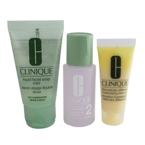 Clinique 3 Step Travel Size Set for Dry Combination Skin, Facial Soap Mild 1 oz + Clarifying Lotion 2 1oz  + DDML+ 0.5oz