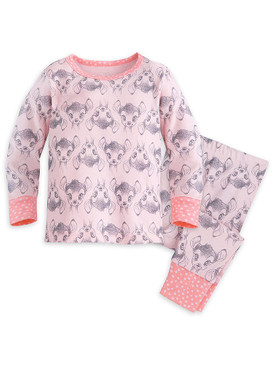 Disney Store Baby Girls Bambi Long Sleeve PJ PALS Pajama Set, Light Pink
