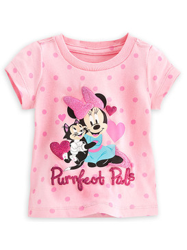 """Disney Store Baby Girls Minnie Mouse & Figaro """"Purrfect Pals"""" T-Shirt, Pink"""