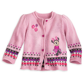 Disney Store Baby Girls Minnie Mouse Button Down Sweater, Pink