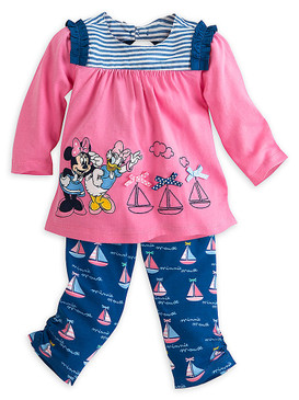 Disney Store Baby Girls Minnie Mouse & Daisy Sailboat Adventure Tee & Pants Set