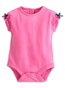 """Disney Store Baby Girls Minnie Mouse """"Sweet Sailing"""" Woven Romper Set, Blue/Pink"""