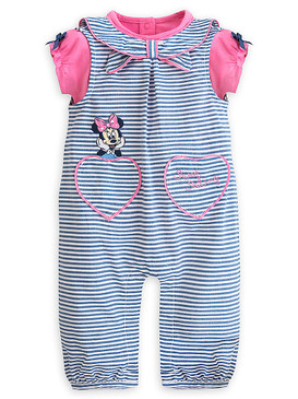 "Disney Store Baby Girls Minnie Mouse ""Sweet Sailing"" Woven Romper Set, Blue/Pink"