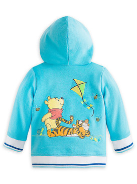 "Disney Store Baby Unisex Winnie the Pooh ""Little Bug Hugs"" Hooded Jacket, Blue"